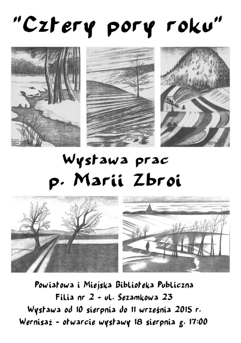 """""""Cztery pory roku"""" – wystawa prac Marii Zbroi – Biblioteka – 10.08-11.09.2015"""