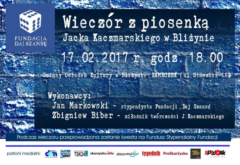 Wieczór z piosenką Jacka Kaczmarskiego w Bliżynie – GOK Bliżyn – 17.02.2017