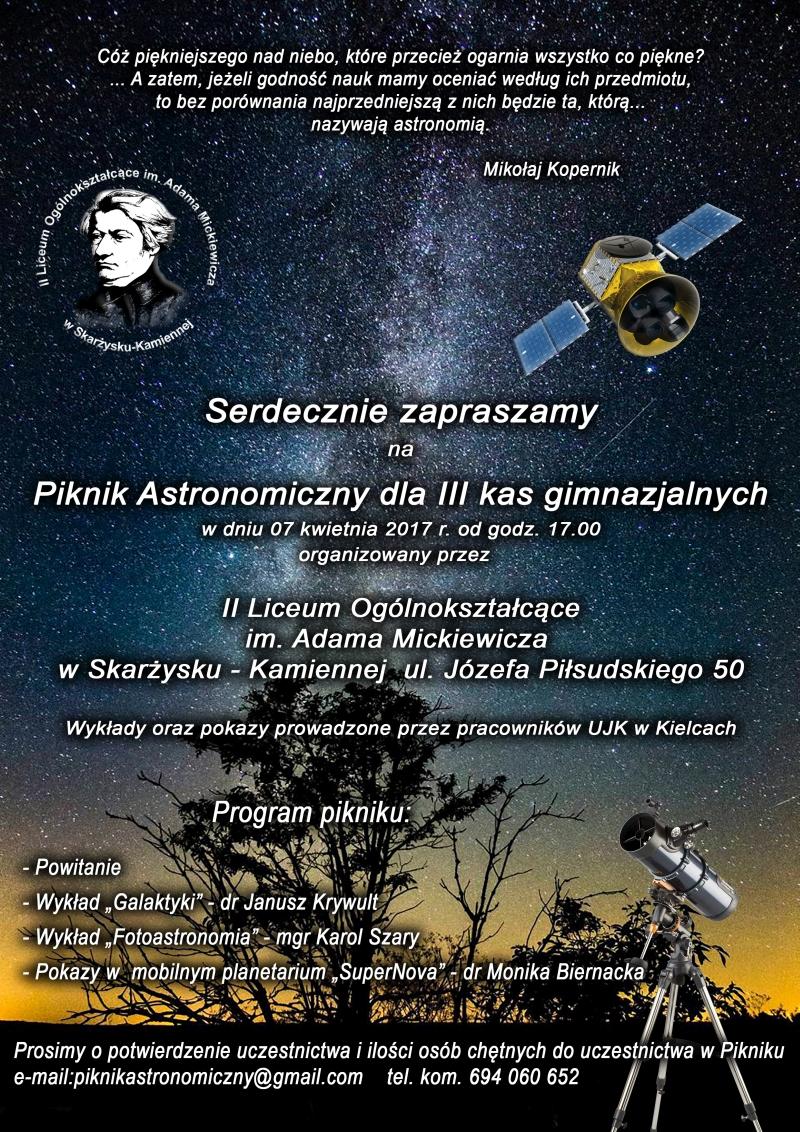 Piknik Astronomiczny dla III klas gimnazjalnych – II LO – 07.04.2017