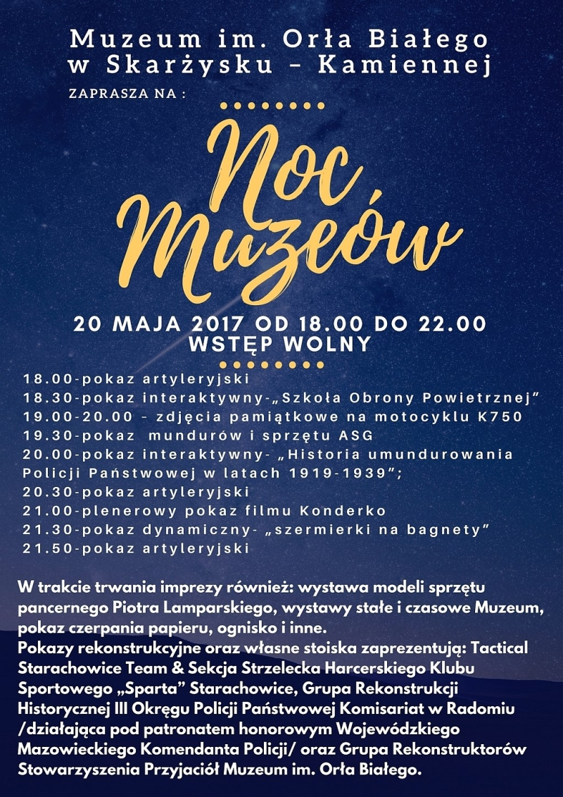 Noc Muzeów – Muzeum im. Orła Białego – 20.05.2017