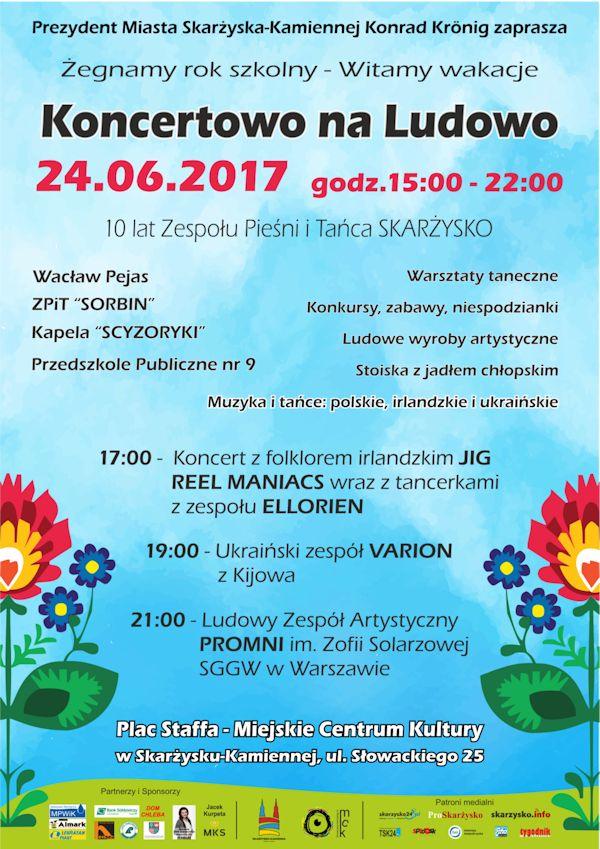 Koncertowo na Ludowo – Plac Staffa przy MCK – 24.06.2017