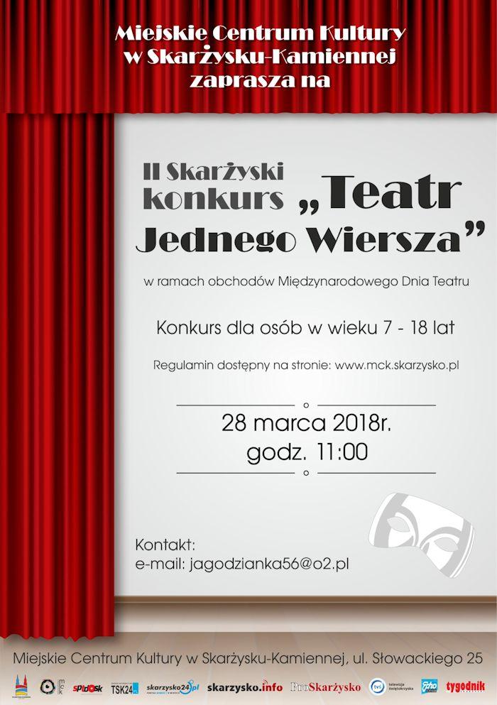 """II Skarżyski konkurs pt. """"Teatr Jednego Wiersza"""" – MCK – 28.03.2018"""