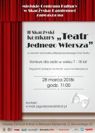 """II Skarżyski konkurs pt. """"Teatr Jednego Wiersza"""""""
