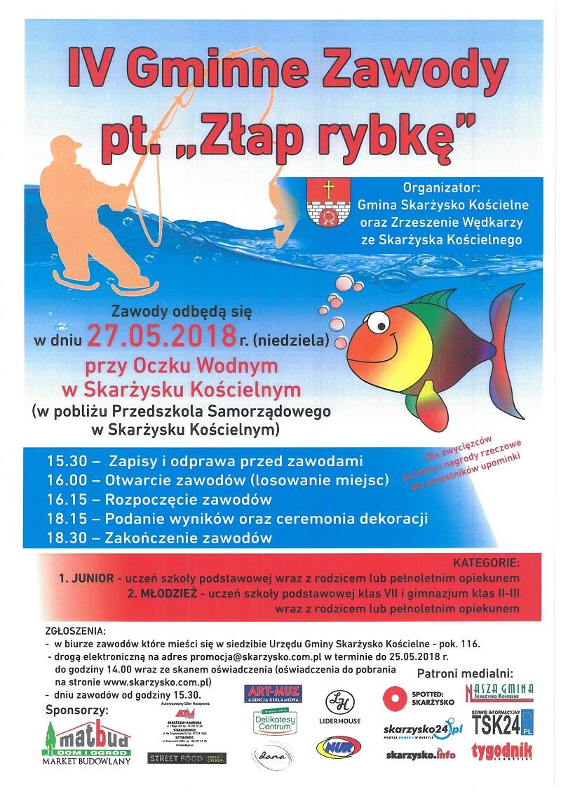 """IV Gminne Zawody pt. """"Złap rybkę"""" – Skarżysko Kościelne – 27.05.2018"""