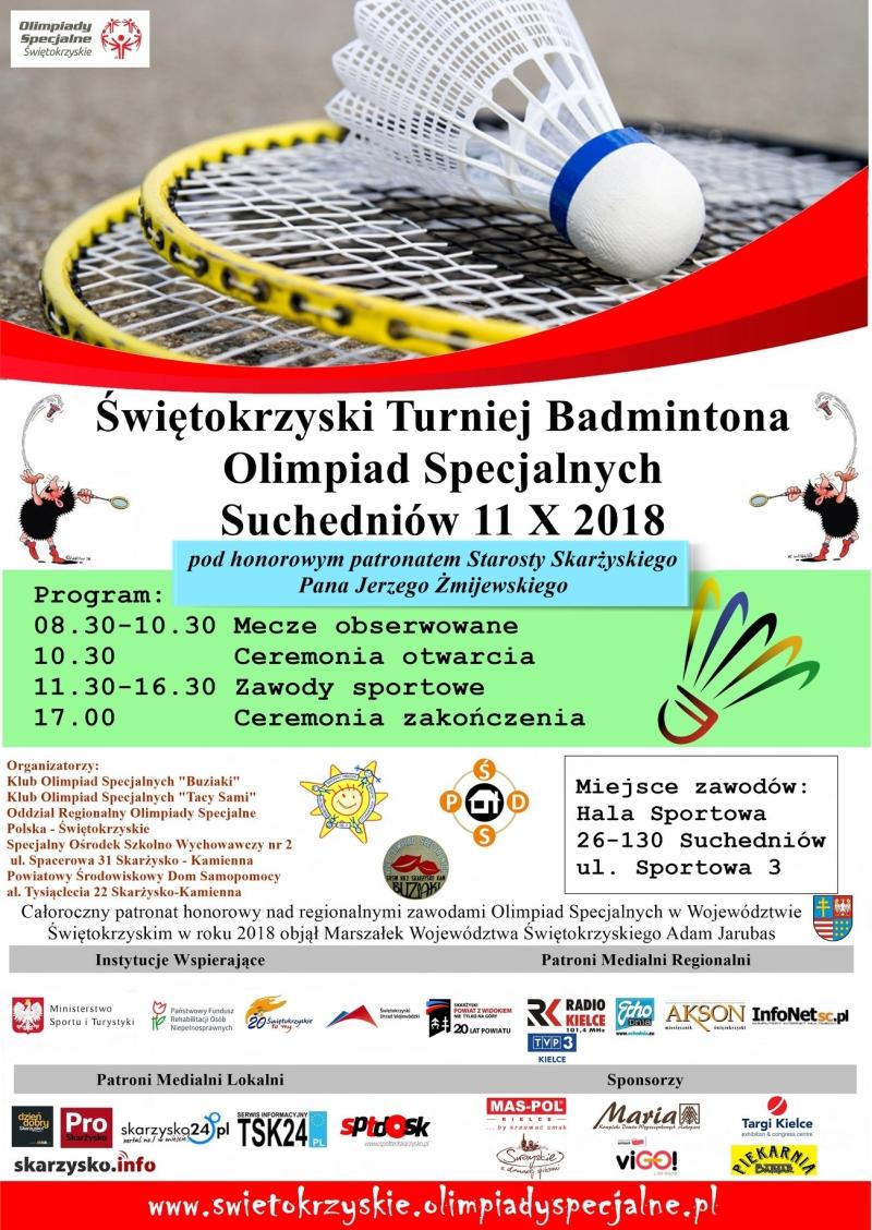 Świętokrzyski Turniej Badmintona Olimpiad Specjalnych – Suchedniów – 11.10.2018