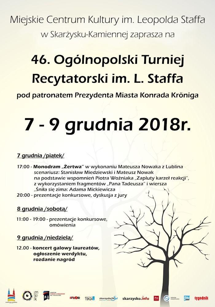 46. Ogólnopolski Turniej Recytatorski – MCK – 7-9.12.2018
