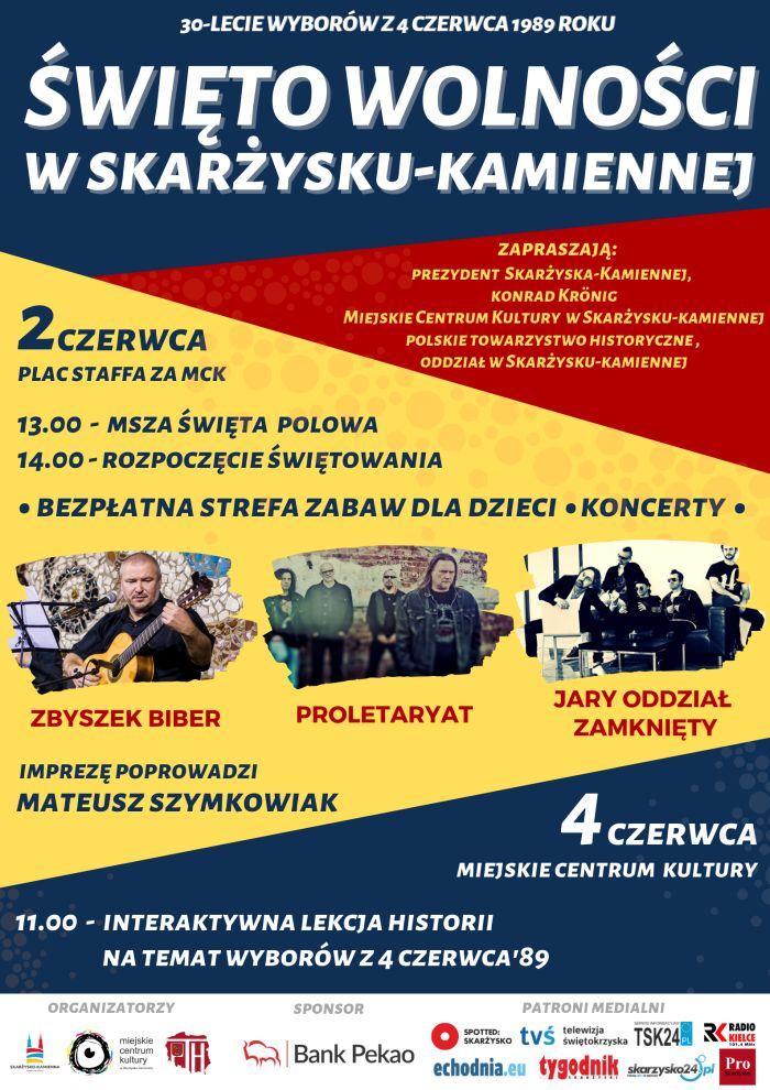 Zapraszamy w dniach 2 i 4 czerwca na Święto Wolności w Skarżysku-Kamiennej.