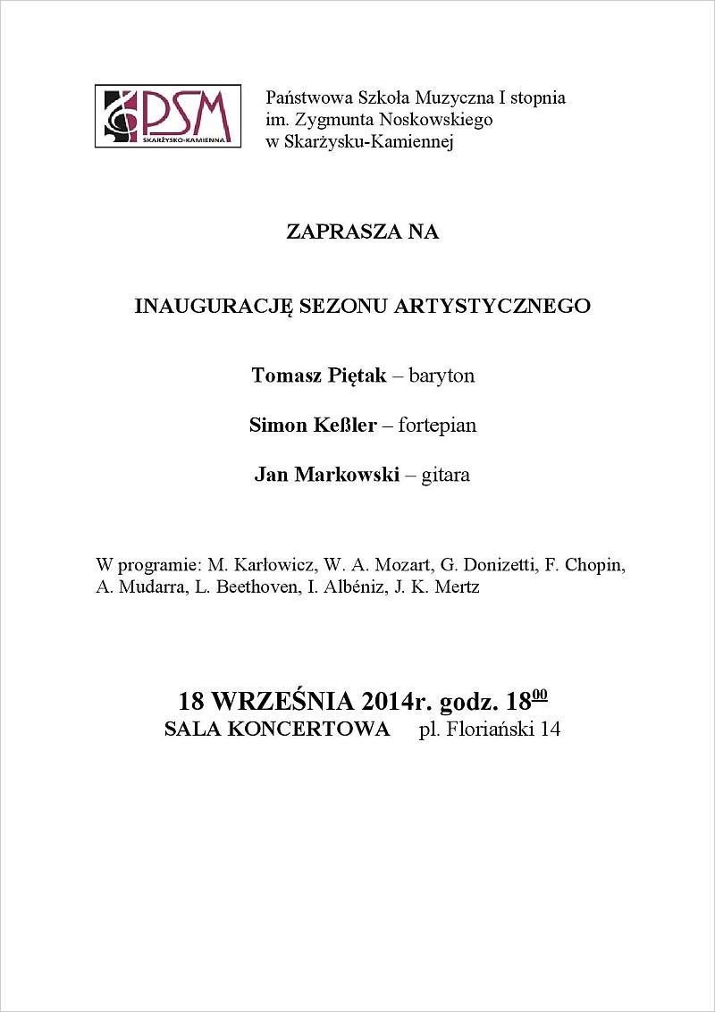 Inauguracja sezonu artystycznego w PSM - Państwowa Szkoła Muzyczna - 18.09.2014 r.