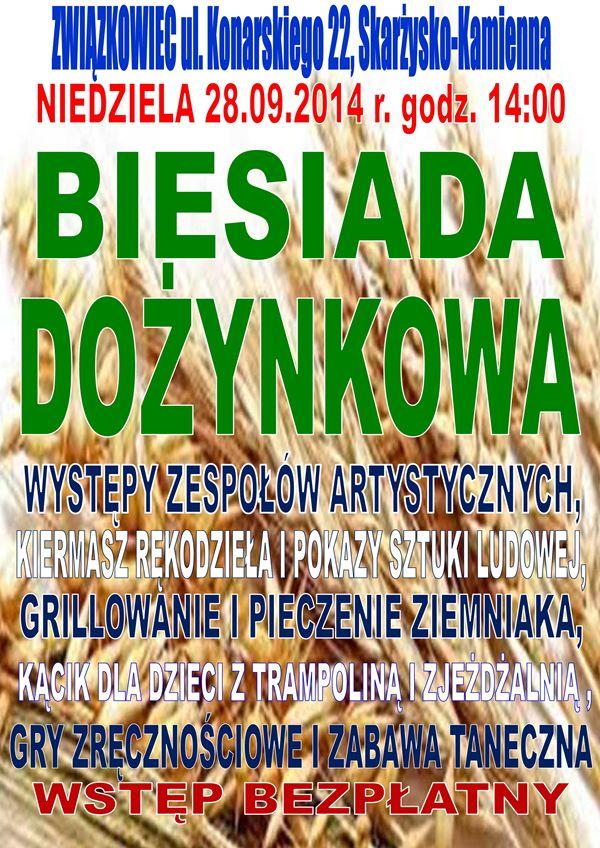 Biesiada Dożynkowa PSL – Klub Kolejarza Związkowiec – 28.09.2014 r.
