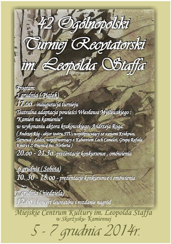 42 Ogólnopolski Turniej Recytatorski im. Leopolda Staffa - MCK - 5-7.12.2014 r.