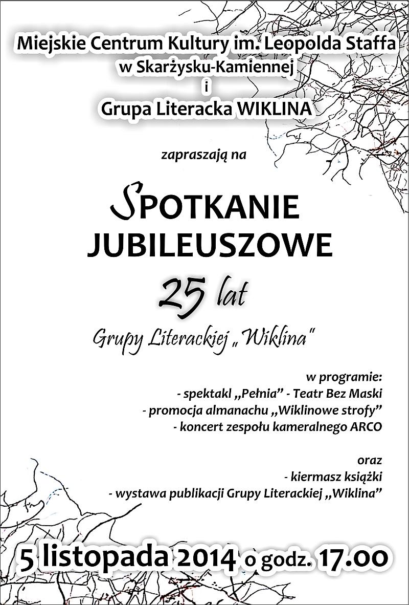 """25 lat Grupy Literackiej """"Wiklina"""" – spotkanie jubileuszowe – MCK – 05.11.2014 r."""