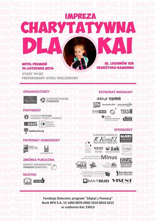 Bal charytatywny dla Kai – hotel Promień – 15.11.2014 r.