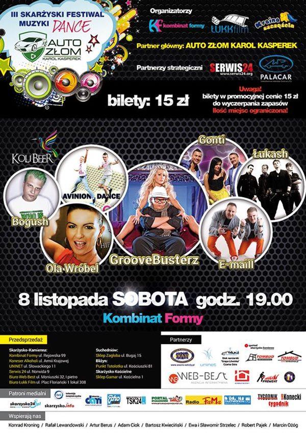 III Skarżyski Festiwal Muzyki Dance 2014 Auto Złom - Karol Kasperek - Kombinat Formy - 08.11.2014 r.